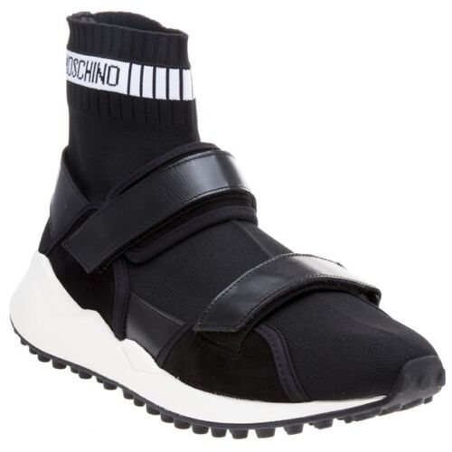 New MENS MOSCHINO BLACK STRAP HIGH TOP TEXTILE Sneakers CHUNKY SNEAKERS