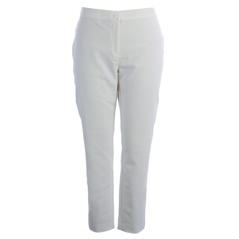 MARINA RINALDI Women's White Remo Slim Fit Dress Pants  NWT