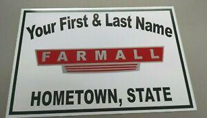 PERSONALIZED WHITE FARM EQUIPMENT ALUMINUM NAME SIGN