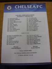 08/02/2014 Colour Teamsheet: Chelsea v Newcastle United  . Condition: Listed pre