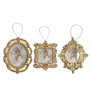 Pack Of 3 Gold Photo Picture Frame Christmas Tree Pendants