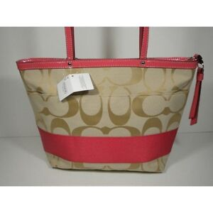 b2472267d948 NWT 19046 COACH CORAL PINK Stripe Signature C Handbag Shoulder Bag ...