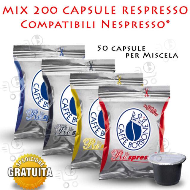 Mix 200 Capsule Caffe' Borbone Respresso 4 x 50 Nera Rossa Blu Oro Nespresso