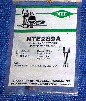 NTE NTE289A TRANSISTOR NPN SILICON 100V IC-0.5A TO-92 CASE AUDIO AMP
