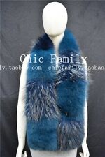 GENUINE REAL LONG Vulpes vulpes  Blue Fox  STOLE COLLAR WRAP SHAWL