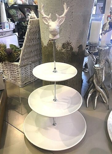 Deer Stag White Ceramic 3 Tier Cup Cakes Muffins Stand