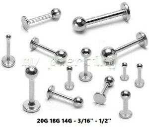 Surgical Steel EXTRA LONG Labret Cheek Piercing with Gem Ball Top 16G 14G 2pcs