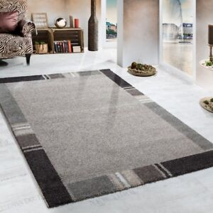 Grey Beige Rug Carpet for Living Room Thick Pile Heavy Woven Rug Mat Small Large