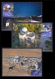 ISRAEL 2021 OBSERVATORIES IN ISRAEL 3 STAMPS ON MAXIMUM CARDS SPACE TELESCOPE