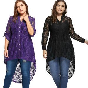Women-039-s-Long-Sleeve-Button-Up-Plus-Size-Blouse-High-Low-Lace-Plus-Size-Tops