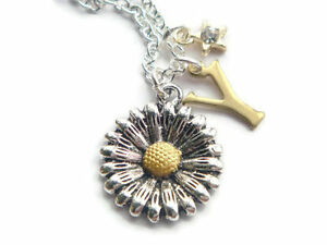 Sunflower Necklace Personalised Initial Daisy Necklace Star Charm Necklace BFF - <span itemprop='availableAtOrFrom'>Down, United Kingdom</span> - Sunflower Necklace Personalised Initial Daisy Necklace Star Charm Necklace BFF - Down, United Kingdom