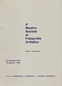 4 mostra sociale di fotografia artistica, catalogo, 1955, Milano, CRAL, arte