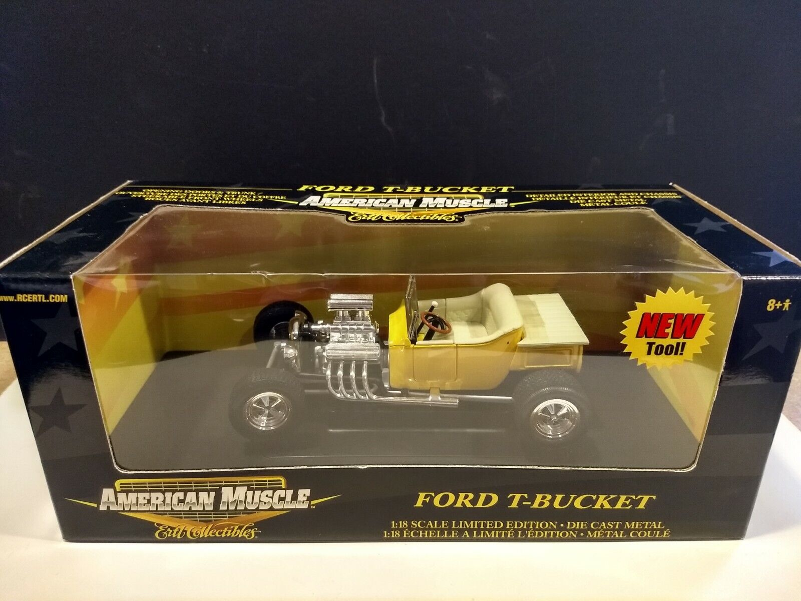 1923 Ford T-Bucket en Amarillo \ Marfil por ERTL American Muscle 1 18 Scale Die Cast
