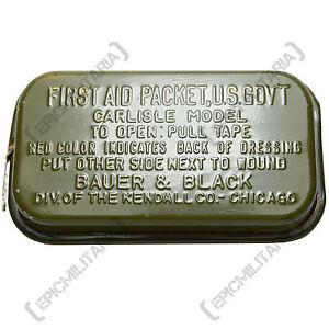 Original-Carlisle-Model-First-Aid-Packet-WW2-Genuine-Soldier-Kit-Tin-Army-Box