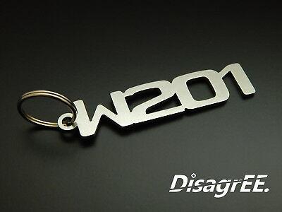 """Schlüsselanhänger """"w201"""" Für Mercedes 190e 2.3 2.5 2.6 16v Evo - Edelstahl"""