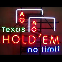 Texas Hold 'em Neon Sign No Limit 5texas W/ Free Shipping