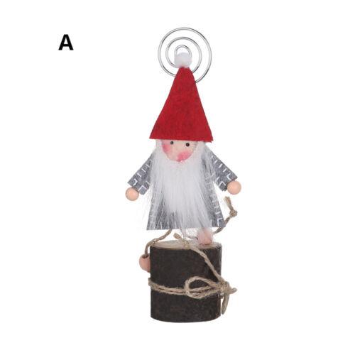 Der Weihnachtsbaum Inhaber von Holzkarten Photo Clips Santa Claus /&Snowman