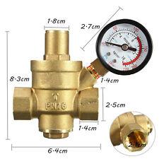 1/2'' Brass Adjustable Lead-Free Water Pressure Regulator New with Gauge Meter#V
