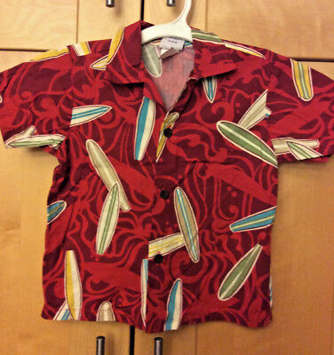 Nui Nalu Toddler Boy Red Surfboards Hawaiian 100% Cotton Camp Surf Shirt 4T