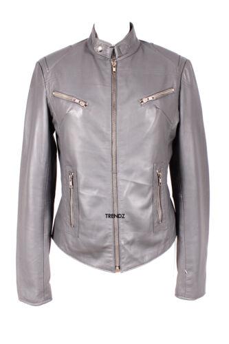 Ladies RUSH GREY Biker Style Short Real Lambskin Leather Designer Fashion Jacket