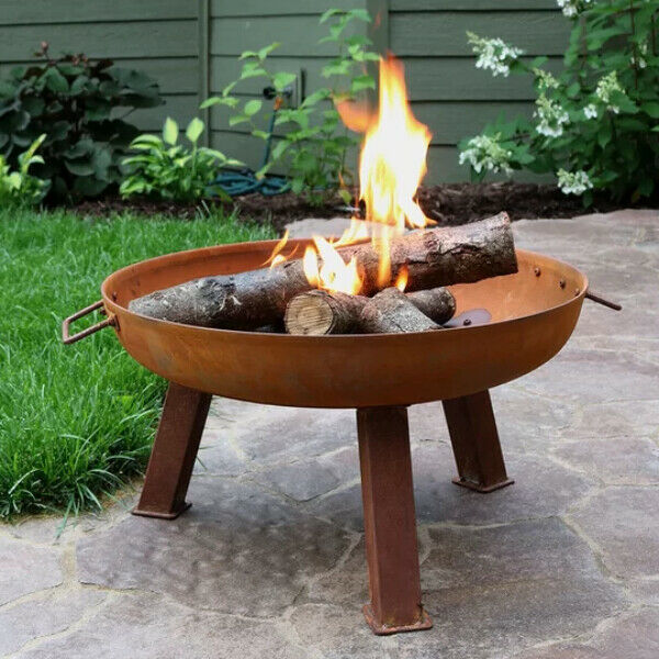 Outdoor Fire Pit Chiminea Cast Iron Fireplace Wood Burning Yard