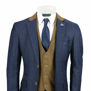 Mens 3 Piece Suit Vintage Windowpane Check Navy Blue Smart Tailored Fit Uk Size Ebay