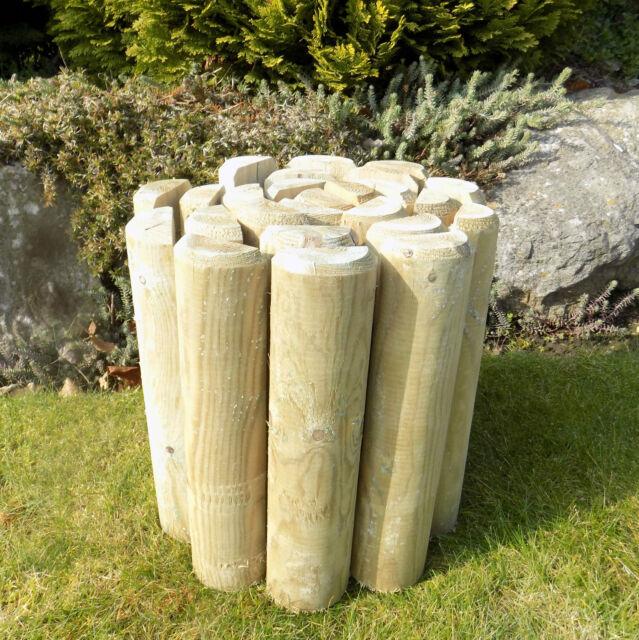 "Log Roll Border Fencing Edge Garden Wooden Lawn Path Edging 2.4m long 9"" High"
