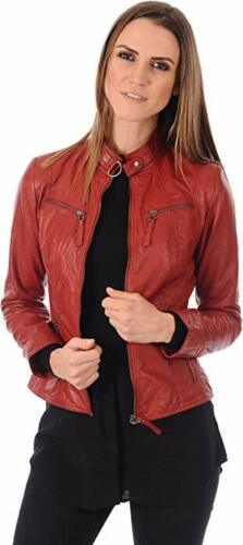 Biker Læder Kvinders Jacket Motorcycle Slim Stylish Coat ægte Red Lambskin XTOOwx4H