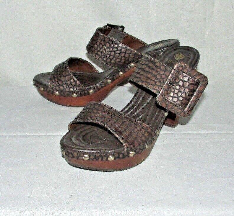 ISOLA ISOLA ISOLA Madra Brown Snakeskin Croc Genuine Leather Sz 11 Clog Mule SlideIn Heels 60b360