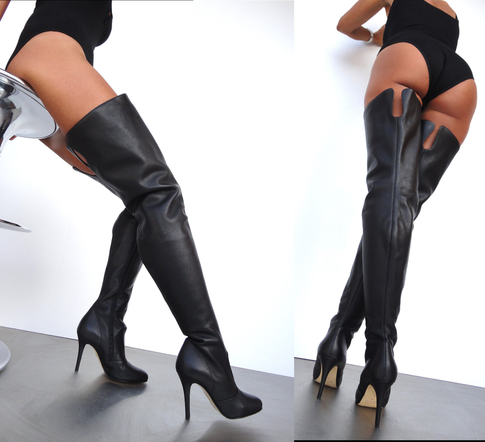GIOHEL ITALY OVERKNEE STIEFEL LEATHER BOOTS HEELS BOTAS STIVALI LEATHER STIEFEL BLACK NERO 42 203a1e