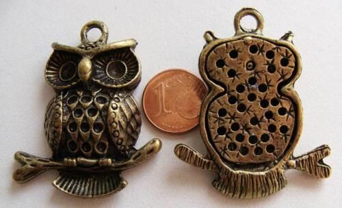 1 PENDENTIF charm perle CHOUETTE HIBOU métal BRONZE 43mm DIY Bijoux MB81