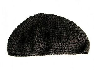 New Mens Knitted Skull Cap Kufi Beanie Hat - Black - Crochet Beanie ... 1ed216cb2e6