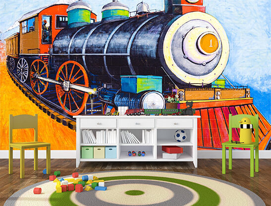 3D Cartoon train 418 Wall Paper Print Decal Wall Deco Indoor wall Mural