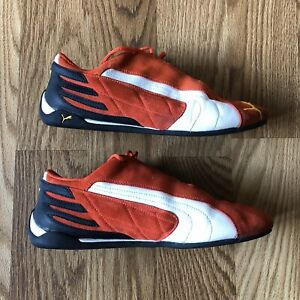 Puma-Red-Suede-Race-Driving-Shoes-Size-10-1-2