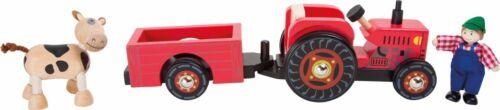 Traktor mit Anhänger Bauernhof Kuh Bulldog Trecker Fahrzeug aus Holz Spielzeug