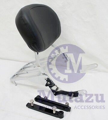 Mutazu Chrome Sissy Bar Backrest w// Luggage Rack,Suzuki C50 VL800 M50 Volusia