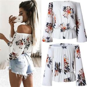 Women-Summer-Loose-Casual-Off-Shoulder-Shirt-Crop-Tops-Blouse-Ladies-clothes