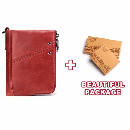 Genuine Leather Women Wallet Female Red Rfid Coin Purse Small Walet Money Bag
