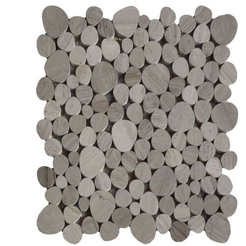 1 filet galets de rivière holzfarbend gris Mosaïque Carrelage pierre naturelle verre granit