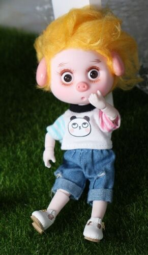 """BJD Doll Mini Lucky Pig 26 Joint Body 6/"""" Toy with Outfit Shoes Makeup /& Gift Box"""