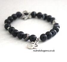 Black Onyx Power Beads OM LOTUS Charm Healing Chakra Bracelet Crystal Gemstone