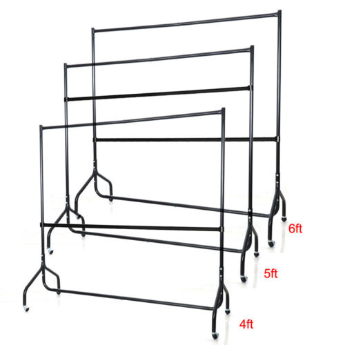 Shop Display Garment Clothes Dress Hanging Rail Rack Stand with Bar Round Tubing