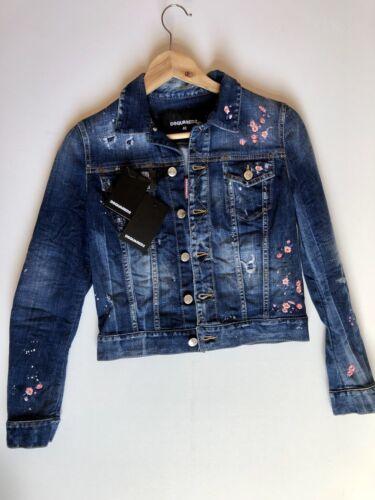 et jean à en foncé bleu Veste rose Dsquared2 fleurs brodée cZUnUqWF
