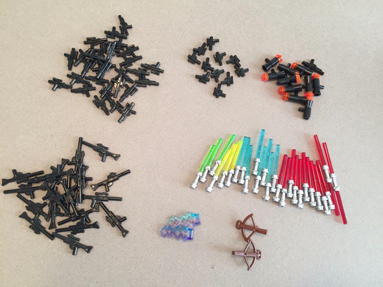 Huge 100 Piece LEGO Star Wars Weapons Lot Lightsabers Blasters Rifles Pistols