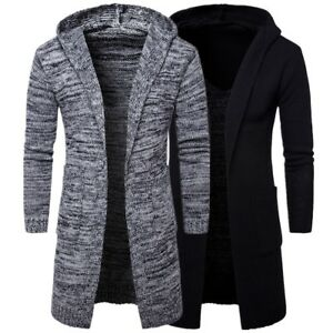 Mens Stylish Hooded Knit Sweater Coat Slim Fit Cardigan Trench Long