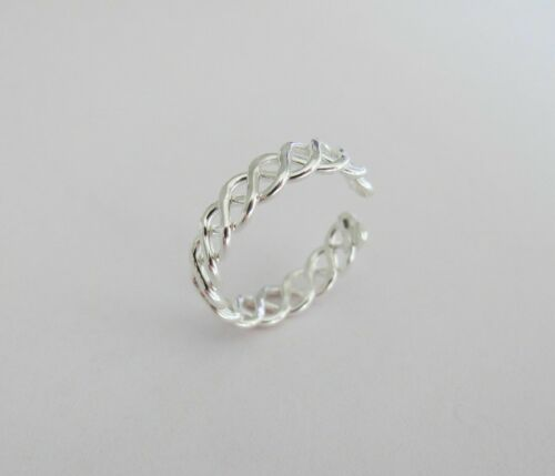 0.40 Ct Sterling Silver Celtic knot Band Adjustable Women Toe Ring White Gold Fn