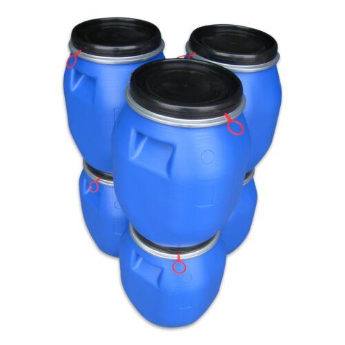 6x30 DGM 6 x 30 Liter blau Kunststoff Fass Plastiktonne Deckelfass Griffmulden