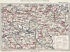 Carta Provincia Firenze (con Prato,Pistoia,Romagna Toscana).Cromolitografia.1894