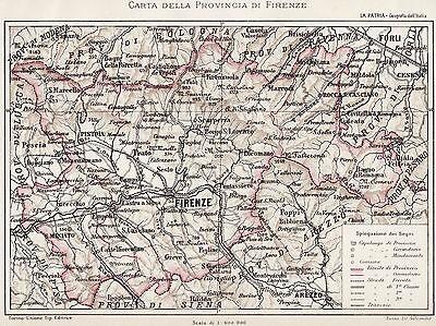 Cartina Geografica Provincia Di Firenze.Provincia Di Firenze Nel 1894 Carta Geografica Cromolitografia Passepartout Ebay