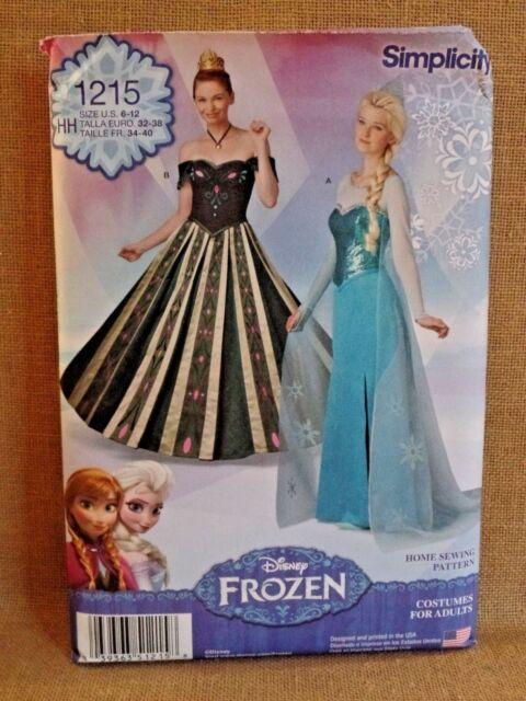 Simplicity Pattern S0746 1215 Frozen Anna Elsa Disney Dress Size 6-12 Adult & Simplicity Pattern S0746 1215 Frozen Anna Elsa Disney Dress Size 6 ...